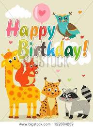 happy birthday card funny animals vector u0026 photo bigstock