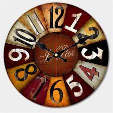 Grande Horloge Murale Carrée En Bois Vintage Achat Artistique Silencieux Rétro Horloge Murale De Style Européen Ronde