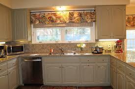 prissy kitchen window valance ideas beige striped fabric windows