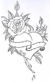 coloring pages of roses and flowers roseheart outline 1 by vikingtattoo deviantart com on deviantart