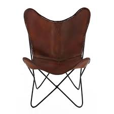 poltrona tripolina fauteuil butterfly cuir et m礬tal marron montecristo design
