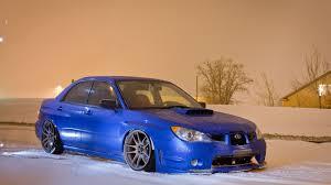 stanced subaru wrx snow cars blue cars stance subaru impreza wrx sti wallpaper
