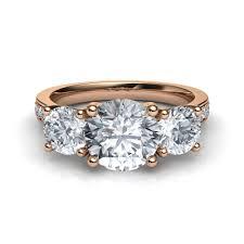 trellis trilogy 3 stone pavé diamond engagement ring in 14k rose gold