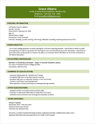 simple student resume format simple resume sle for fresh graduate template