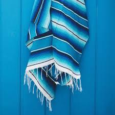 vintage mexican blanket serape teal blue white black gray
