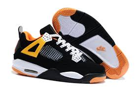 kid jordans nike air 4 shoes kid s black white orange gkq 52331