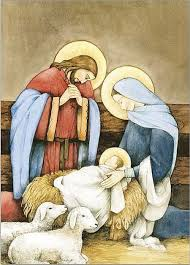 holy family in stable with lambs cards catholic books