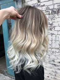 platinum blonde balayage ombre with natural root by amy ziegler