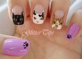 glitter tips cat nails