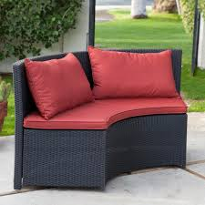8 Chair Patio Dining Set - modern 8 seat wicker resin patio dining set with red cushions