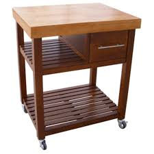 laminate wooden butcher block top kitchen island with drawers and