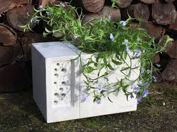 beepot concrete planter u0026 bee hotel wildcare ecology supplies