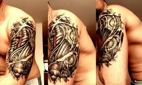 biomechanical tribal tattoos on back shoulder for men photos