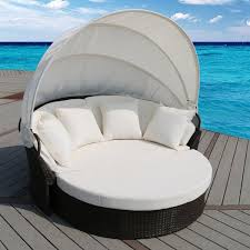 suntime outdoor living cerbere flat rattan daybed with cushions