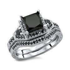 black engagement ring set noori 14k white gold 2ct tdw princess black bridal ring