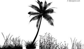 4 designer ai format of coconut tree silhouette vector material