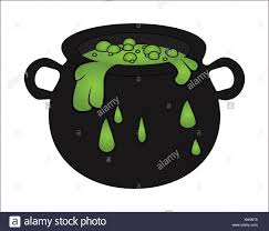 witch cauldron with green potion bubbling witches brew cartoon