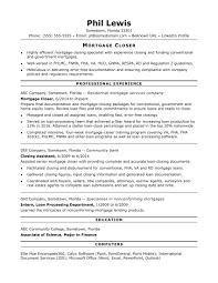 resume title exle mortgage closer resume sle
