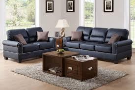 Bonded Leather Loveseat Poundex F7877 2 Pcs Black Bonded Leather Sofa Loveseat Set