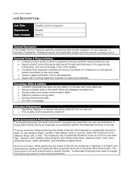 Quality Inspector Resume Quality Control Analyst Sample Resume