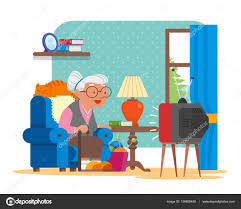 Cartoon Armchair Vector Illustration Of Grandmother Sitting In Armchair And
