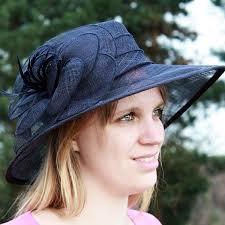 chapeau pour mariage chapeau mariage sisal ruban fleur plume bleu marine chapeau
