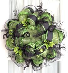 Halloween Wreath Decorations by Funky Halloween Deco Mesh Wreath Lime Green Black Halloween Decor
