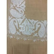 bige color beige color top daur hand embroidered zarri border pashmina shawl