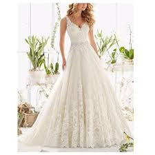 Chapel Train Wedding Dresses Fair Lady Women U0027s Double V Neck Lace Applique Empire Chapel Train