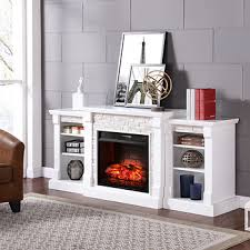 Infrared Electric Fireplace Sei Empire Simulated Stone Infrared Electric Fireplace White