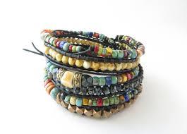 black leather wrap bracelet images Boho jewelry multi strand beaded bracelet for women colorful etsy jpg