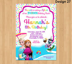 Invitation Card For Pool Party Frozen Summer Invitation Frozen Pool Party Invitation Frozen