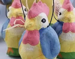 paper mache easter baskets paper mache chickens etsy