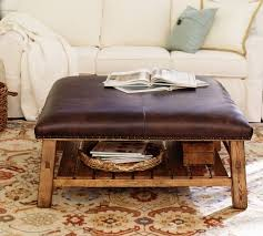 Leather Square Ottoman Coffee Table Caden Leather Square Ottoman Pottery Barn
