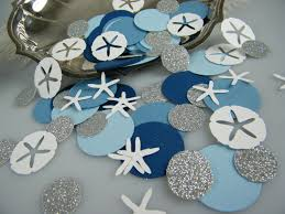 nautical confetti boy baby shower decoration blue silver