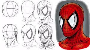 how to draw spider man u0027s mask step by step youtube