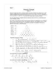 pascals triangle homework ch 11 algebra 2h pascals triangle