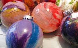 swirled paint glass ornaments allfreekidscrafts