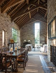 stone walls u0026 cathedral rafters lend old world timelessness to