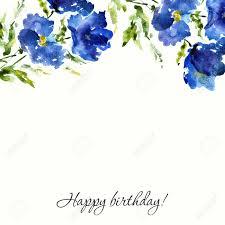 Wedding Design Blue Floral Background Watercolor Flowers Birthday Or Wedding