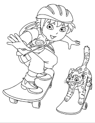 go diego go up skateboard go diego go coloring pages