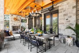 covered backyard patio with dining area skylights heaters and