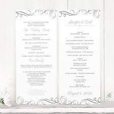Wedding Bulletin Template Wedding Program Template Elegant Swirls Pewter Tea Length