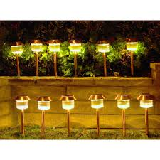 Bright Solar Landscape Lights Homebrite Solar Power Belmont Path Lights Set Of 12 Walmart