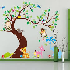 mignon singes jouer dans les arbres sticker mural pour chambre d