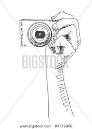 sketch hand holding compact photo vector u0026 photo bigstock