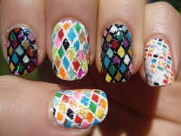 rainbow diamond pattern nail art tutorial youtube