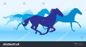 silhouette horses running background stock vector 704541676