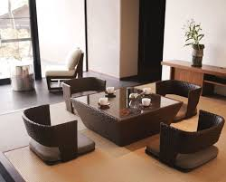 furniture japanese living room with square black wood coffee