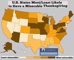 thanksgiving usa drunks tummy aches arguments which state in the usa has the